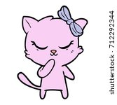 cute cartoon cat with bow   Shutterstock .eps vector #712292344