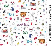 punk glam rock doodle objects... | Shutterstock .eps vector #712294711