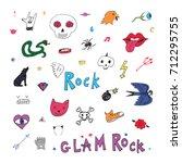 punk rock doodle cartoon funny... | Shutterstock .eps vector #712295755
