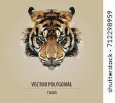 vector polygonal tiger head.... | Shutterstock .eps vector #712298959