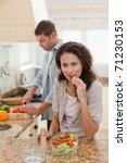 woman eating while her husband... | Shutterstock . vector #71230153