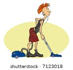 a punk with the vacuum cleaner. | Shutterstock .eps vector #7123018