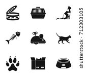 Stock photo cat toys icons set simple set of cat toys icons for web isolated on white background 712303105