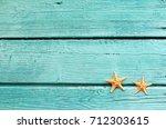 summer sea background. starfish ... | Shutterstock . vector #712303615