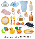 Baby Goods Isolated On White...