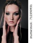 fashion studio portrait of...   Shutterstock . vector #712350931