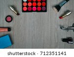 top view of cosmetics and make... | Shutterstock . vector #712351141