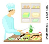 color picture. a man cook  he... | Shutterstock .eps vector #712354387