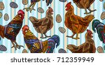 embroidery chicken and rooster...   Shutterstock .eps vector #712359949