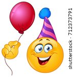 birthday yellow ball with party ... | Shutterstock .eps vector #712373791