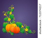 pumpkins with green leaves and... | Shutterstock .eps vector #712374217