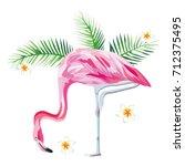 tropical bird pink flamingo... | Shutterstock .eps vector #712375495
