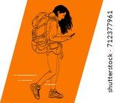vector outline of walking girl... | Shutterstock .eps vector #712377961