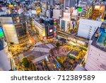 shibuya  tokyo  japan cityscape. | Shutterstock . vector #712389589