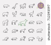 animals line icons set | Shutterstock .eps vector #712393597