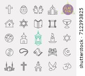 religion line icon set | Shutterstock .eps vector #712393825