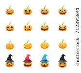 halloween pumpkin. set of... | Shutterstock .eps vector #712395841