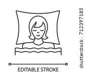 sleeping woman in bed linear... | Shutterstock .eps vector #712397185