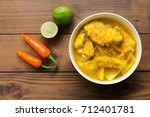 southern thai spicy sour yellow ... | Shutterstock . vector #712401781