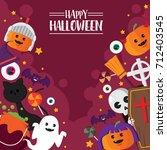 halloween icon pumpkin and... | Shutterstock .eps vector #712403545
