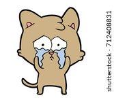 cartoon crying cat | Shutterstock .eps vector #712408831