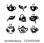 vector black tea icon on white... | Shutterstock .eps vector #712410169