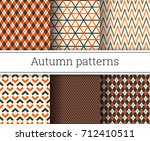 autumn vector seamless patterns ... | Shutterstock .eps vector #712410511