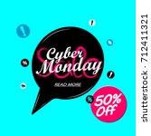 cyber monday sale  discount 50  ... | Shutterstock .eps vector #712411321