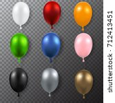 realistic colorful balloons... | Shutterstock .eps vector #712413451