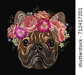 embroidery french bulldog and...   Shutterstock .eps vector #712417201