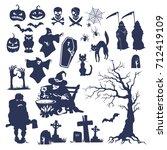 hand drawn halloween flat... | Shutterstock .eps vector #712419109
