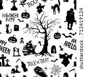 hand drawn halloween lettering... | Shutterstock .eps vector #712419124