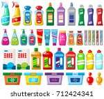 set of household chemicals and... | Shutterstock .eps vector #712424341