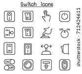 switch icon set in thin line...