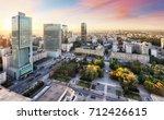 sunset panorama of warsaw ...   Shutterstock . vector #712426615