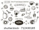 coffee collection hand drawn... | Shutterstock .eps vector #712430185