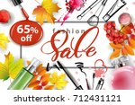 sale banner with autumn leaves  ... | Shutterstock .eps vector #712431121