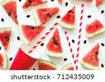 texture watermelon. slices of... | Shutterstock . vector #712435009