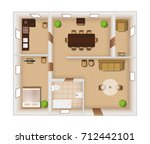 flat rooms interior with... | Shutterstock . vector #712442101