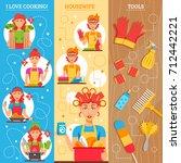 housewife vertical banners set... | Shutterstock . vector #712442221