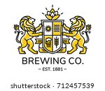 brewing emblem heraldry line... | Shutterstock .eps vector #712457539
