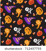 halloween pattern background... | Shutterstock .eps vector #712457755