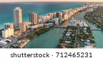 aerial view of miami beach at... | Shutterstock . vector #712465231