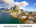 hamnoy fishing village  reine ... | Shutterstock . vector #712469605