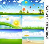 Stock vector  beautiful landscape with trees and clouds vector illustration 71247592