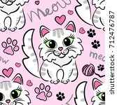 cute  cartoon kittens. meow.... | Shutterstock .eps vector #712476787