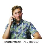 funny retro man with mustache... | Shutterstock . vector #712481917