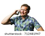 funny retro man with mustache... | Shutterstock . vector #712481947