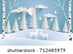 deer are both in the pine... | Shutterstock .eps vector #712485979