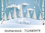 deer are both in the pine...   Shutterstock .eps vector #712485979